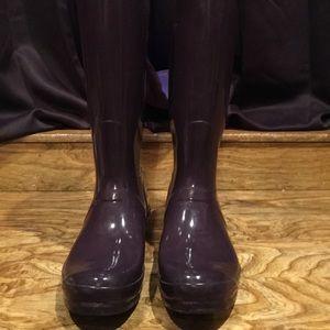 Hunter dark purple rain boots sz10